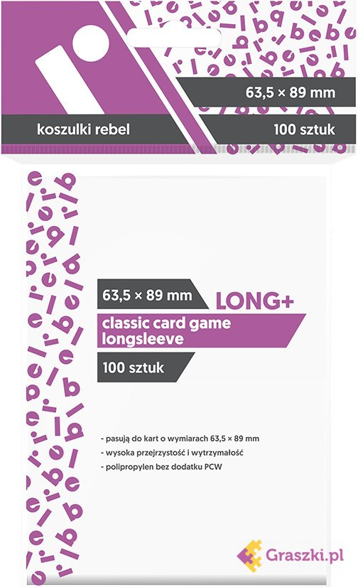 Koszulki na karty Rebel (63,5x89 mm) Classic Card Game Longsleeve, 100 sztuk // darmowa dostawa od 249.99 zł // wysyłka do 24 godzin! // odbiór osobisty w Opolu